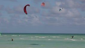 Kite surfing on the coast of Cuba. Stock Image