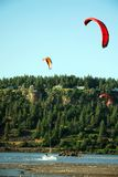 Kite surfing on Columbia River. Scenics of Columbia River in Oregon stock images