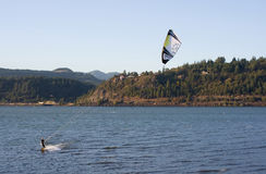 Kite Surfing on the Columbia River Stock Image