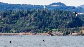 Kite Surfing, Columbia River, Oregon, USA Stock Photo
