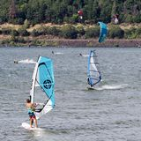 Kite Surfing, Columbia River, Oregon, USA royalty free stock images