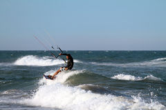 Kite surfing Cullera beach Spain Royalty Free Stock Photography