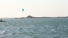 Kite surfing Dinard, Brittany stock video