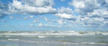 Kite surfing. End of the season,in Montesilvano beach,Province of Pescara,Abruzzo.Kite surfing royalty free stock image