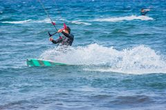 Kite surfing exterme water photography stock images