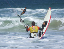 Kite surfing in Florianopolis - Brazil. Kite surfer in the waves - Brazil Royalty Free Stock Image