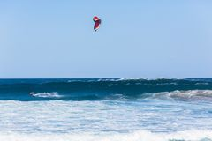 Kite Surfing Flying Surfer Ocean Action royalty free stock photo