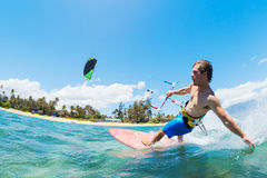 Kite Surfing. Fun in the Ocean, Extreme Sport Stock Image