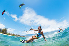 Kite Surfing. Fun in the Ocean, Extreme Sport Royalty Free Stock Images