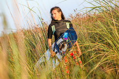 Kite Surfing Girl Royalty Free Stock Photo