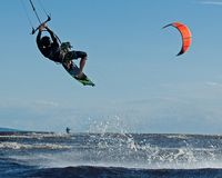 Kite Surfing In A Sunny An Beautifuld Day In Sweden Stock Photography