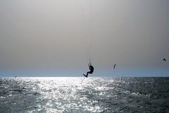 Kite Surfing. Kiteboard,. Kite surfing on a beach in Dubai Stock Photo