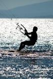 Kite surfing. Man doing kite surfing or kiteboarding Stock Photo