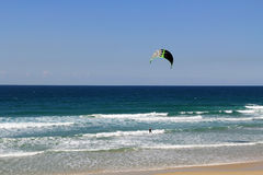 Kite Surfing on the Mediterranean Sea in Israel Stock Photo