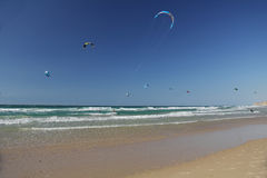 Kite Surfing on the Mediterranean Sea in Israel Stock Image