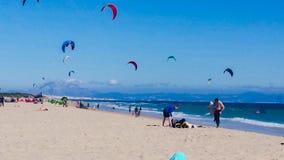 Kite Surfing near Tarifa. Kite surfing beach near Tarifa in Spain Royalty Free Stock Photos