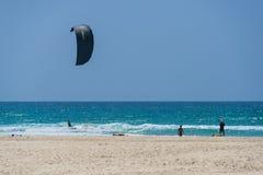 Kite surfing at Netanya, Israel Royalty Free Stock Image