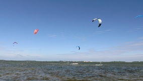 Kite Surfing in Ocean, Extreme summer sport. Kite Boarding in Baltic Sea. stock video footage