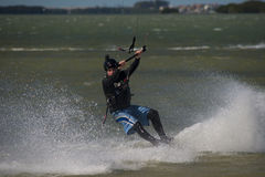 Kite surfing on ocean Royalty Free Stock Image
