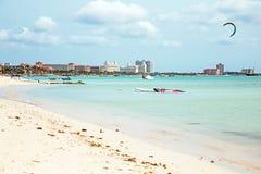 Kite surfing on Palm Beach on Aruba island Stock Image