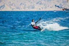 Kite surfing on the sea Stock Photo