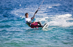 Kite surfing on the sea Royalty Free Stock Photo