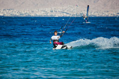 Kite surfing on the sea. Stock Photography