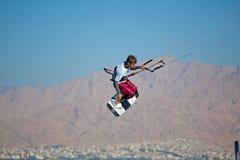 Kite surfing on the sea. Stock Photo