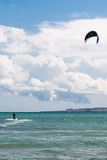 Kite-surfing at sea Stock Photography