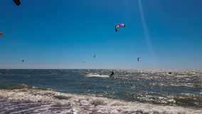 Kite surfing on the sea. royalty free stock images