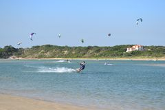 Kite surfing in St Francis bay stock image