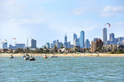 Kite surfing on St Kilda Beach in Melbourne Stock Images