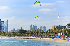 Kite surfing on St Kilda Beach in Melbourne Royalty Free Stock Image