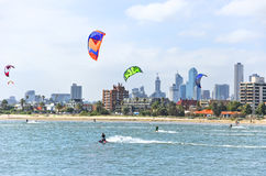 Kite surfing on St Kilda Beach in Melbourne Royalty Free Stock Photography