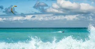 Kite surfing -  summer water sport outdoor activity Stock Photo