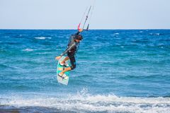 Kite surfing exterme water photography stock photography