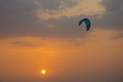 Kite Surfing At Sunset Stock Image