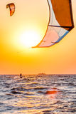 Kite-surfing at sunset Royalty Free Stock Photography