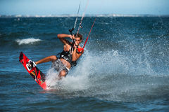 Kite surfing. Royalty Free Stock Photos