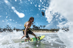 Kite surfing. Royalty Free Stock Photo