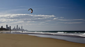 Kite surfing on Surfer's Paradise royalty free stock image
