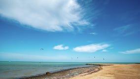 Kite surfing. Surfers on blue sea surface. Hyperlapse. Kite surfing. Surfers on blue sea surface stock footage