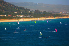 Kite Surfing Tarifa Royalty Free Stock Photography