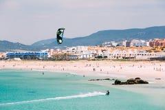 Kite surfing in Tarifa, Spain. Tarifa is most Stock Photography