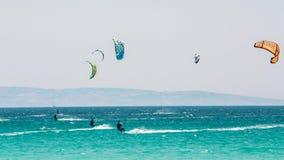 Kite surfing in Tarifa, Spain. Tarifa is most Stock Photo