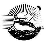 Kite surfing. Vector illustration in the engraving style Stock Image