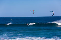 Kite Surfing Wave Two Riders Stock Images