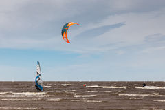 Kite surfing and windsurfing - extreme sport Stock Photo