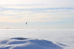 Kite surfing in the winter. On the Gulf of Finland in Russia Royalty Free Stock Photography