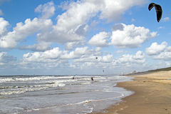 Kite surfing at Zandvoort aan Zee Netherlands Stock Photo